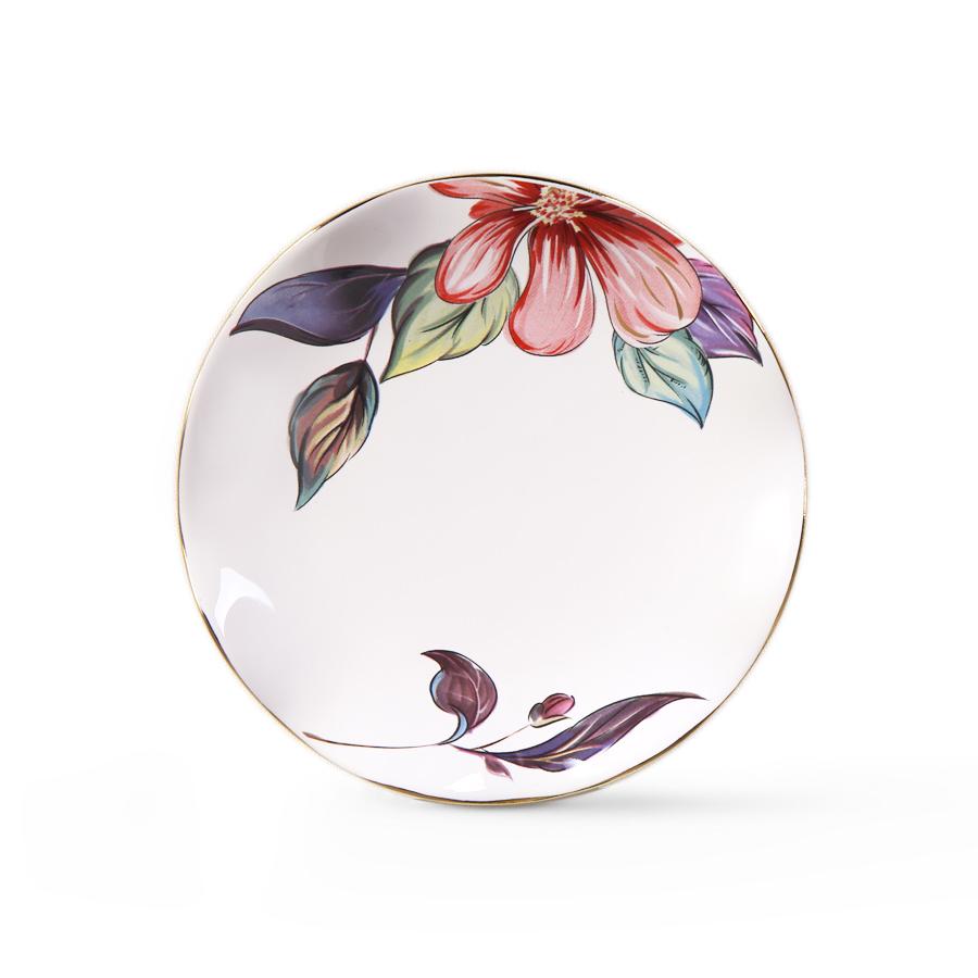 Тарелка с цветами, 15 см, костяной фарфор 100%, Китай
