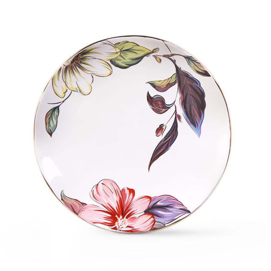 Тарелка с цветами, 20 см, костяной фарфор 100%, Китай