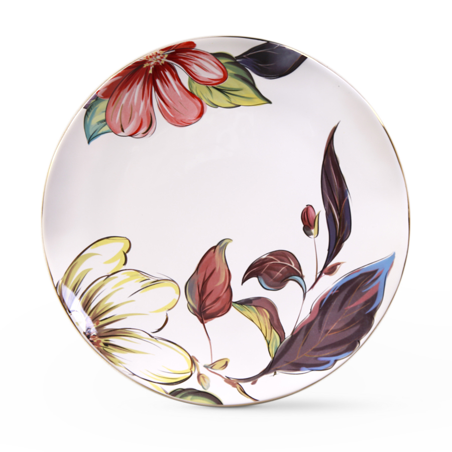 Тарелка с цветами, костяной фарфор 100%, Китай