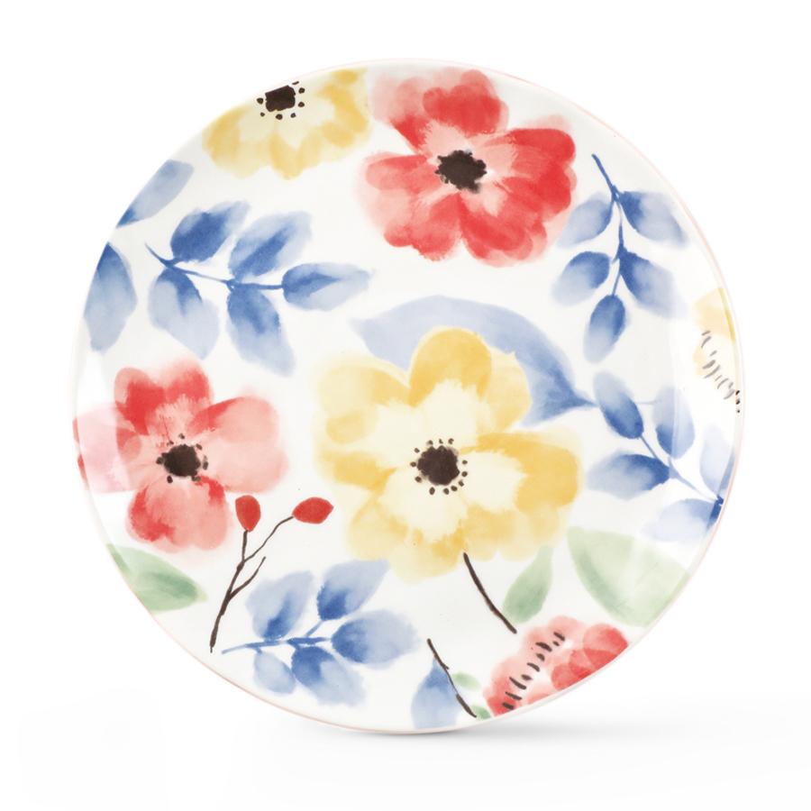 """Тарелка столовая """"Листья с цветами"""", костяной фарфор 100%, Китай"""