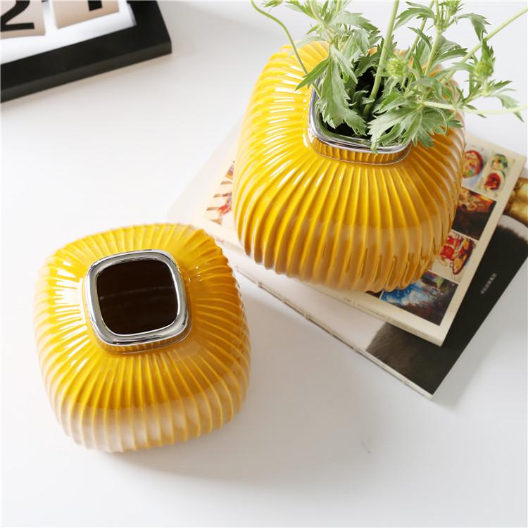 Керамические декоративные вазы Сан-Ремо «Горчичная» 15 см.