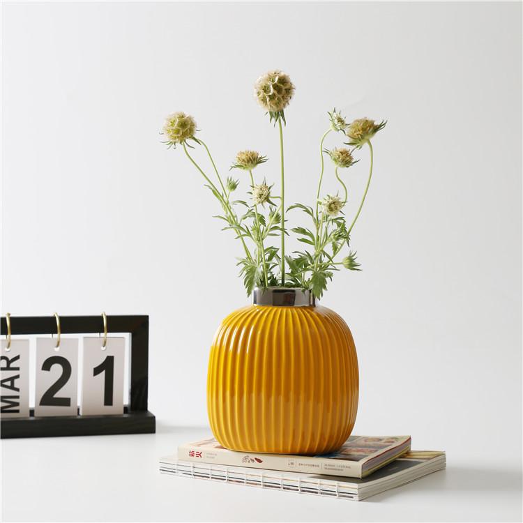 Керамическая ваза декоративная Сан-Ремо «Горчичная» 15 см.