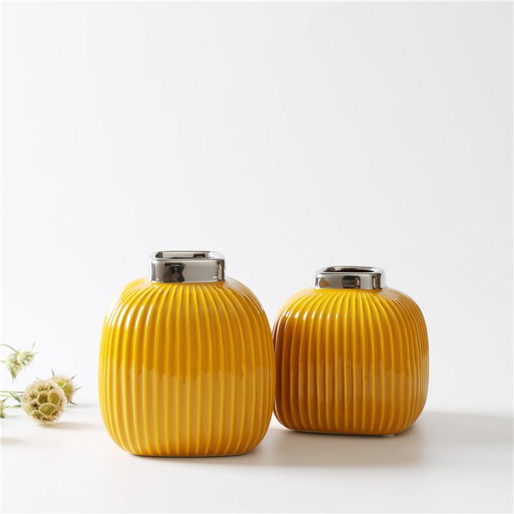 Керамические вазы Сан-Ремо горчичного цвета 15 см.