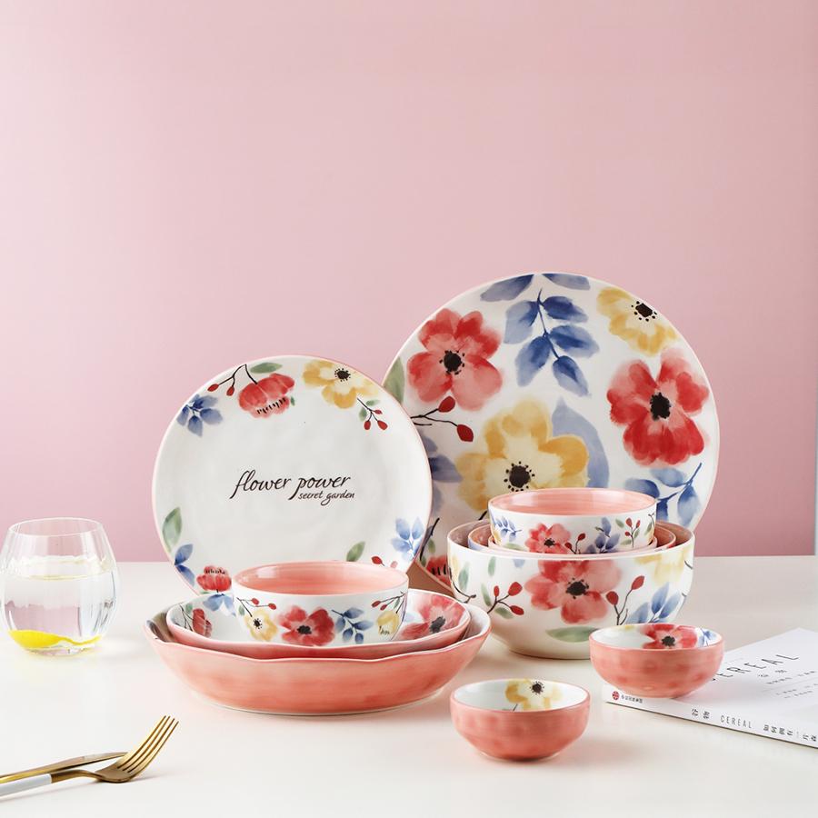"Набор тарелок серии ""Сила цветов"", 100% костяной фарфор, Китай"