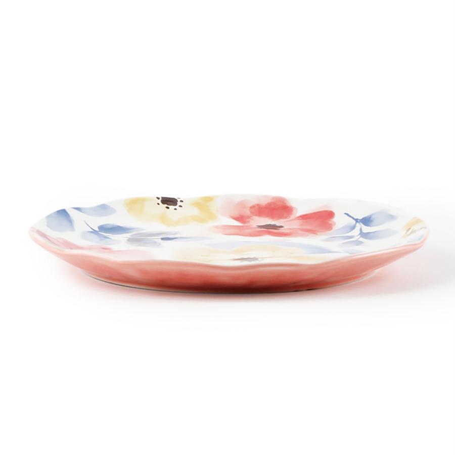 """Столовая тарелка """"Листья с цветами"""", костяной фарфор 100%, Китай"""