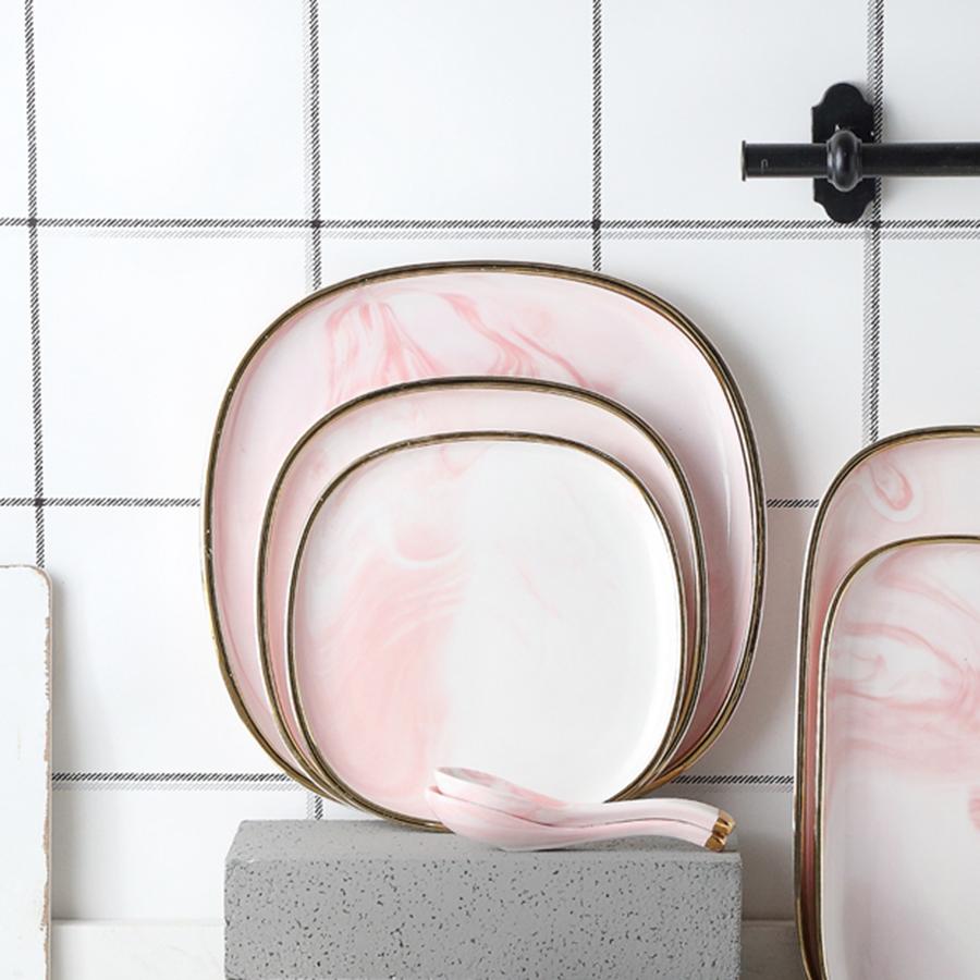 "Набор тарелок 19 см. с ложками, серии ""Антиб"" нежно-розового цвета, костяной фарфор 100%"