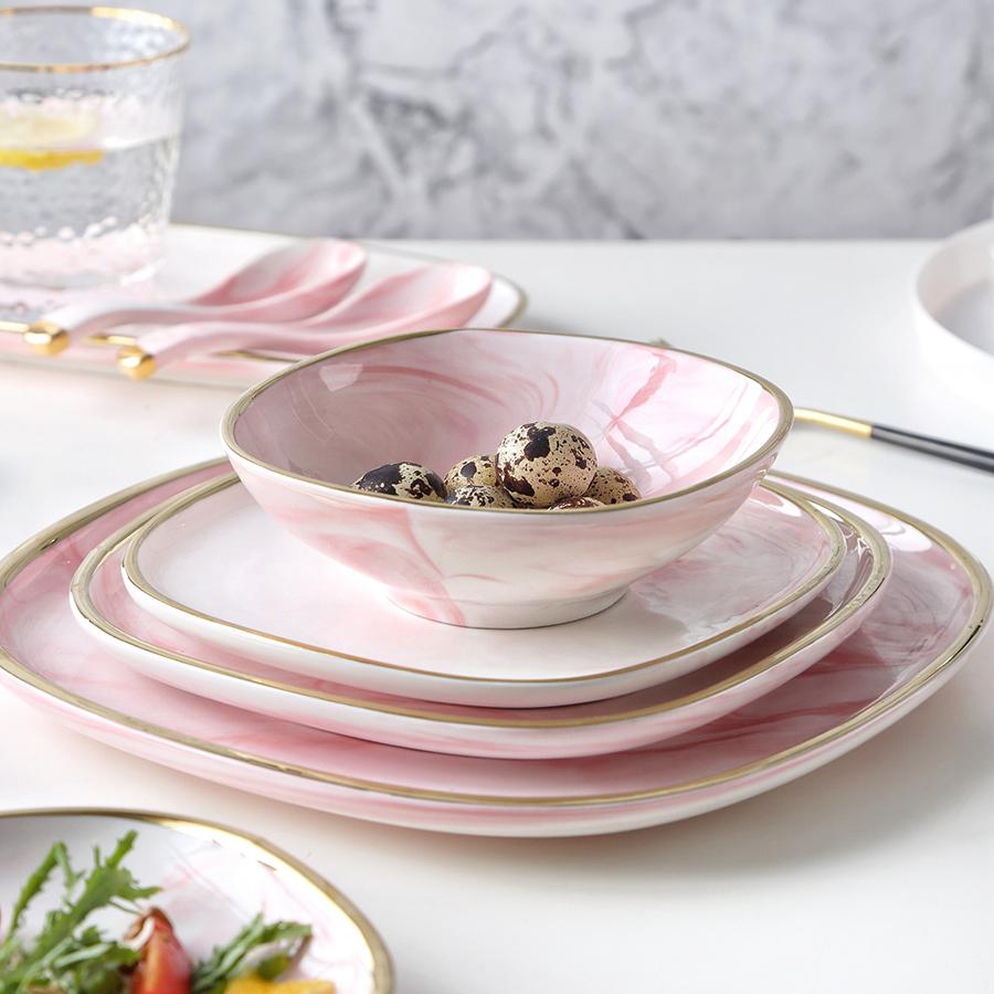"""Набор тарелок 19 см., серии """"Антиб"""" нежно-розового цвета, костяной фарфор 100%"""