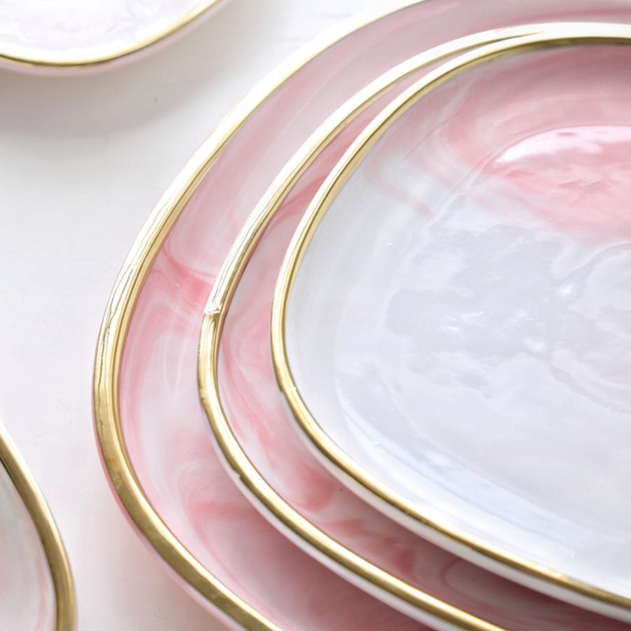 """Набор тарелок серии """"Антиб"""" нежно-розового цвета, костяной фарфор 100%"""