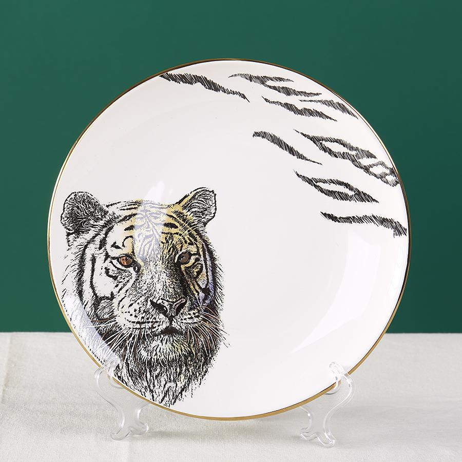 """Тарелка с тигром серии """"Дикие животные"""", костяной фарфор 100%"""
