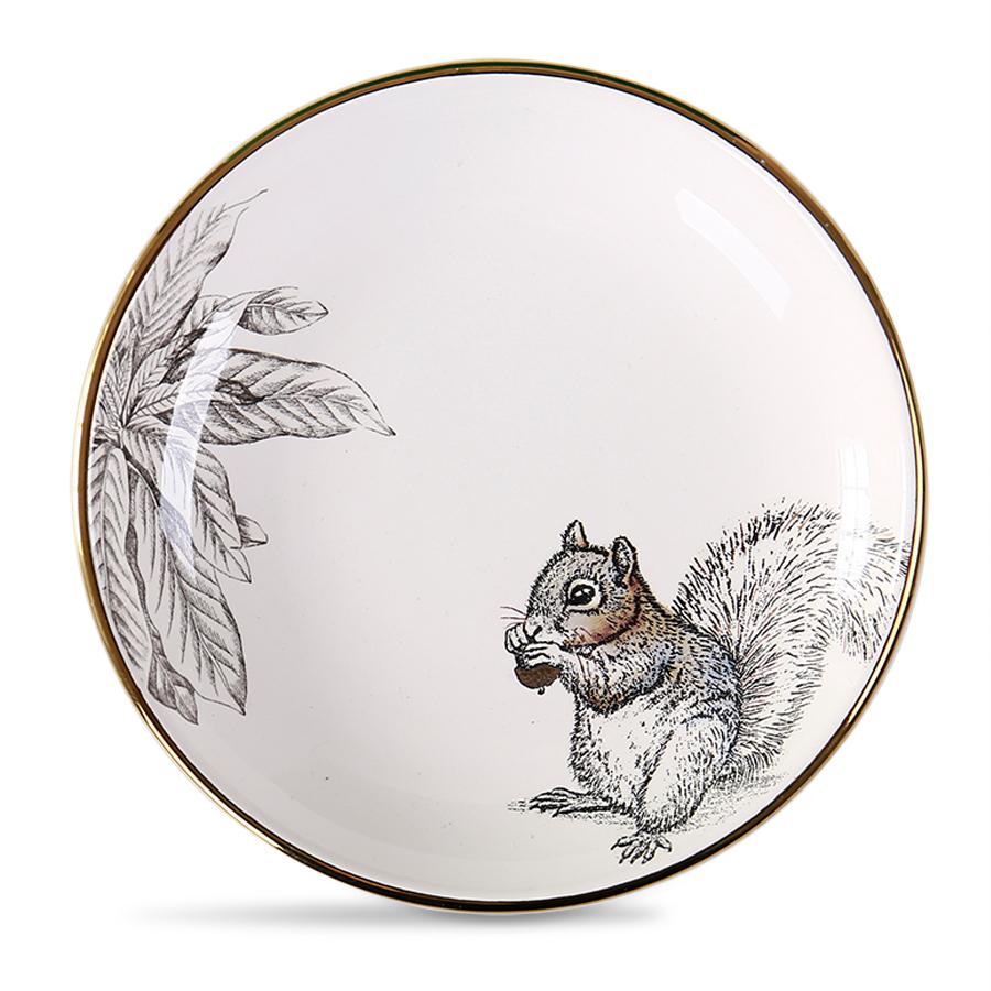 Столовая тарелка с белкой 15 см., 100% костяной фарфор