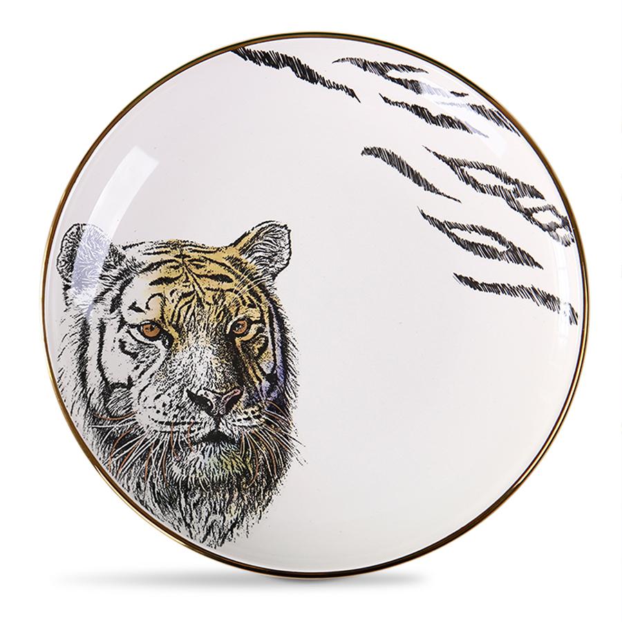 Тарелка с тигром, костяной фарфор 100%, Китай