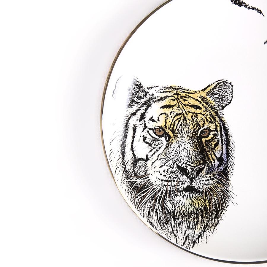 """Тарелка с тигром серии """"Дикие животные"""", костяной фарфор 100%, Китай"""