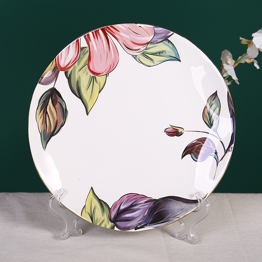 Тарелка с цветами, 20 см, костяной фарфор 100%