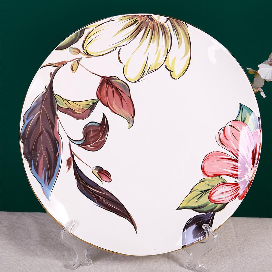 Тарелка с цветами, костяной фарфор 100%