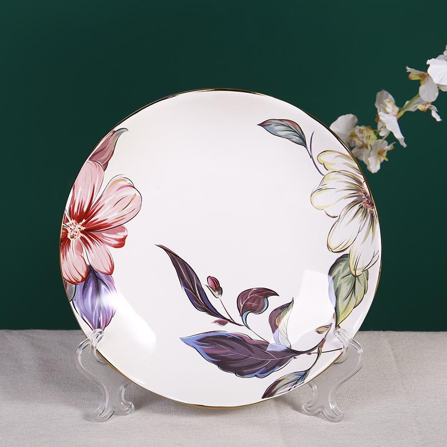 Столовая тарелка с цветами, 15 см, костяной фарфор 100%, Китай
