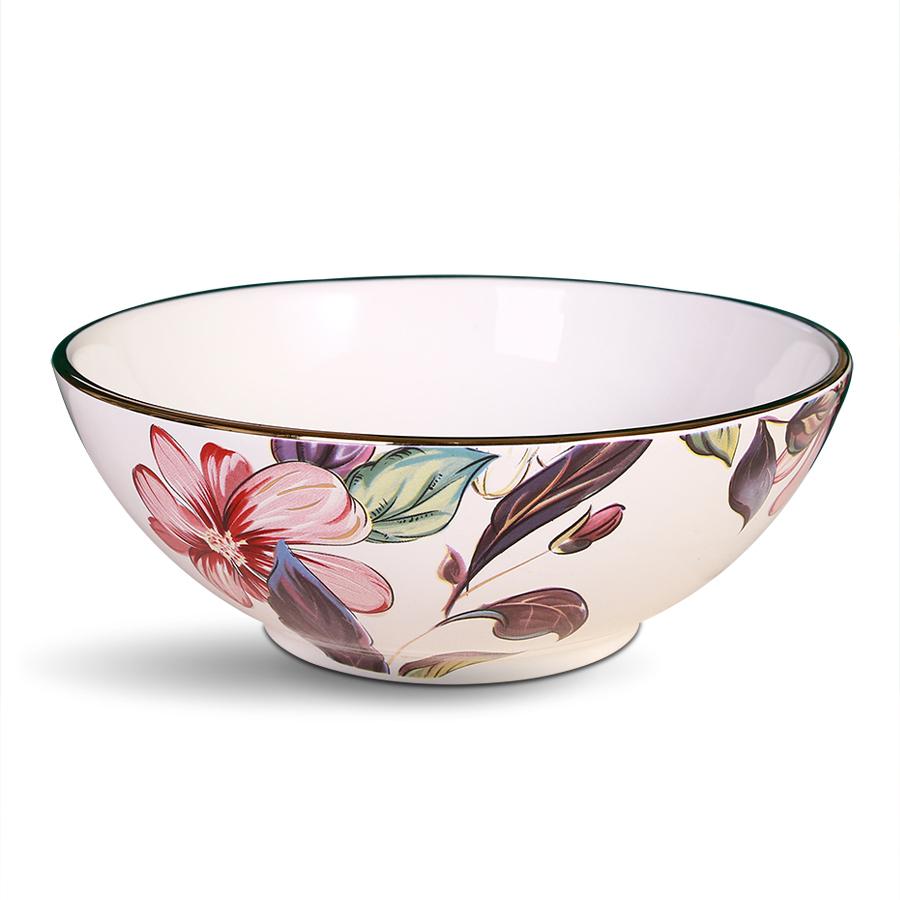 Салатник с цветами (белый, розовый, золотистый), костяной фарфор 100%